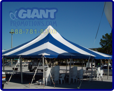 Blue and white high peak tent