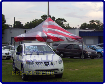 American flag custom printed tent.