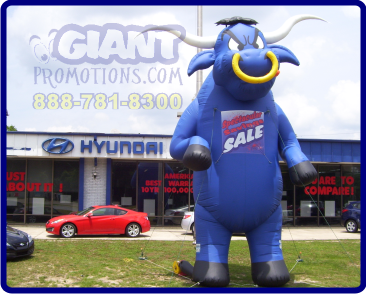 Blue bull giant inflatable advertising balloon.