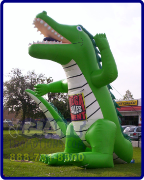 Green aligator giant inflatable advertising balloon.