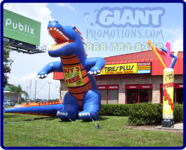 Blue and orange gator giant inflatable advertising balloon.