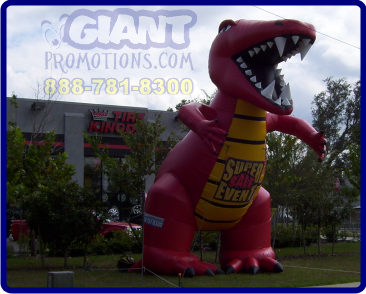 Red dino giant inflatable advertising balloon.