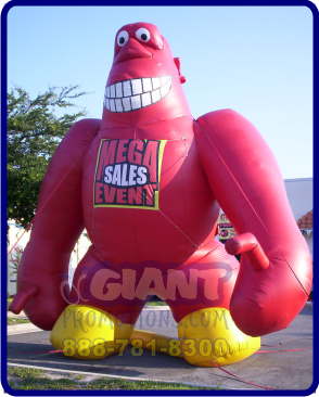 Red monkey giant inflatable advertising balloon.